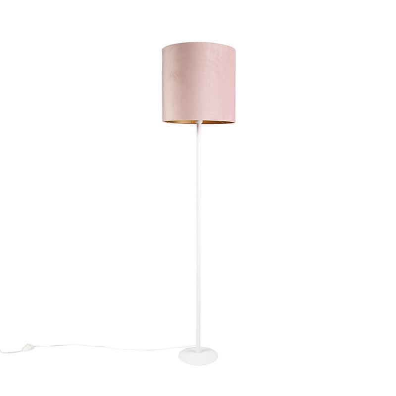 Vintage Stehleuchte weiß mit alt rosa Schirm 40cm Simplo