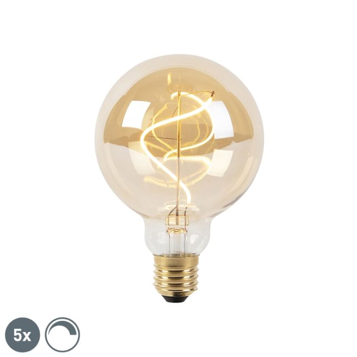 Set-mit-5-dimmbaren-LED-Spirallampen-E27-G27-Goldline
