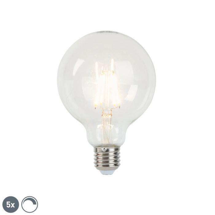 5er-Set-LED-LED-Glühlampe-E27-5W-450lm-G95-dimmbar-klar