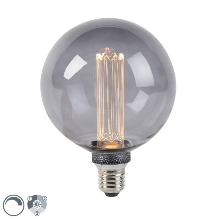 LED-Lampe-G125-E27-5W-2000K-Rauch-3-stufig-dimmbar