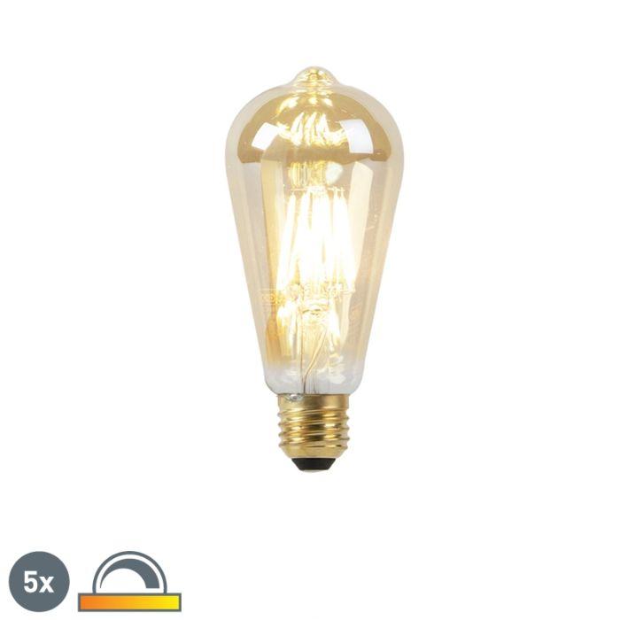 5er-Set-E27-LED-Lampen-8W-2000-2600K-dimmbar-Goldfäden