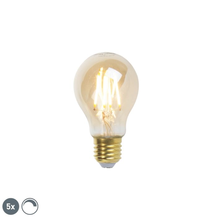 Set-mit-5-dimmbaren-E27-LED-Glühlampen-goldline-360lm-2200K