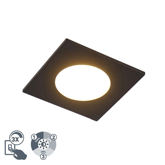 Modernes-Einbaustück-schwarz-inkl.-LED-3-stufig-dimmbar-IP65---Einfach