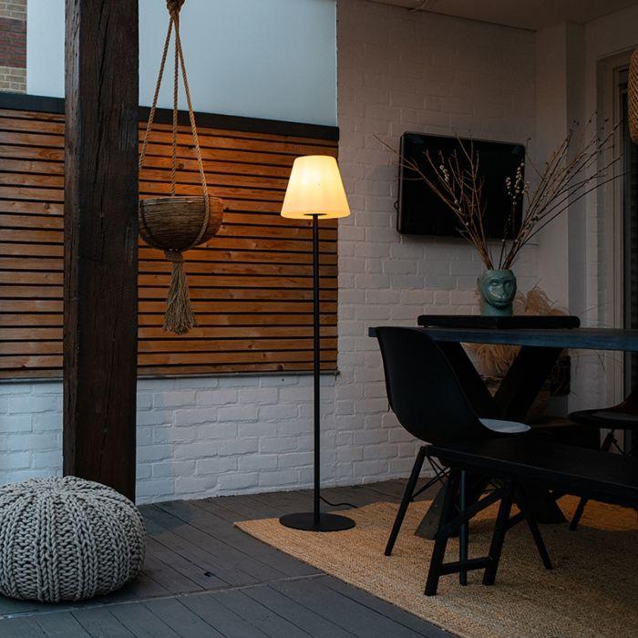 Außen-Stehlampe-schwarz-mit-weißem-Schirm-IP65-25-cm---Virginia