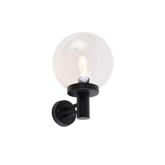 Außenwandleuchte-schwarz-mit-Kunststoff-IP44-Edelstahl---Sfera