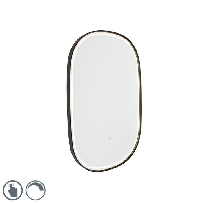 Badspiegel-schwarz-inkl.-LED-mit-Touchdimmer-oval---Miral