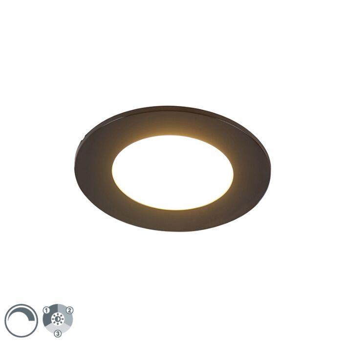 Moderne-Einbauleuchte-schwarz-inkl.-LED-3-stufig-dimmbar-IP65---Blanca