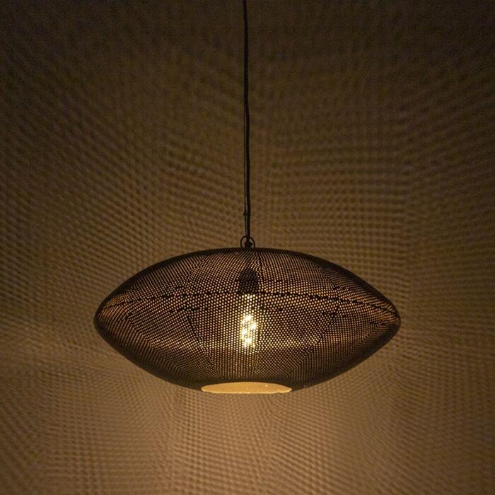 Design-Hängelampe-schwarz-mit-Gold-60-cm---Radiance