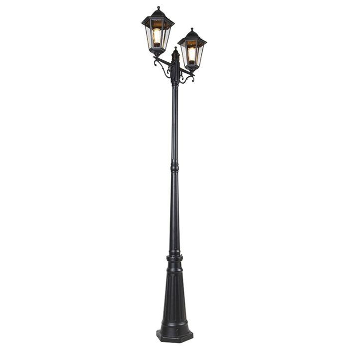 Außenlaterne-schwarz-220-cm-2-Licht-IP44---New-Orleans
