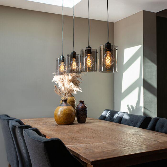 Design-Hängelampe-schwarz-mit-Rauchglas-4-Licht---Kuppel