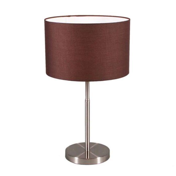 Tischleuchte-Drum-Stahl-mit-braunem-Schirm