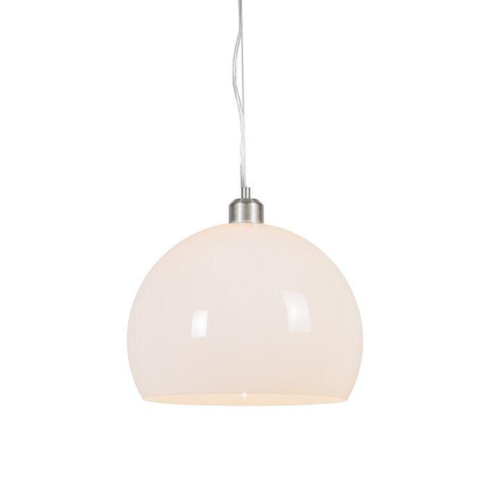Moderne-runde-Hängelampe-opalweiß---Globe