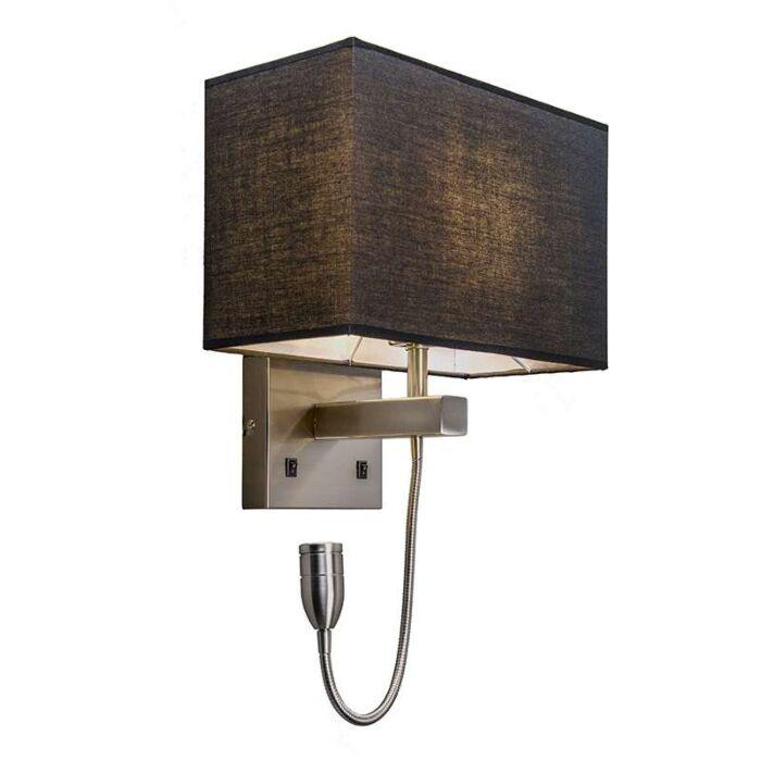 Wandleuchte-Stahl-mit-schwarzem-Schirm-und-Lesearm-inkl.-LED---Bergamo