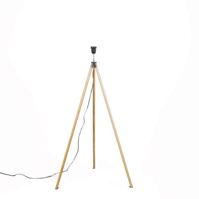 Stehleuchte-Treppiede-Holz-ohne-Schirm