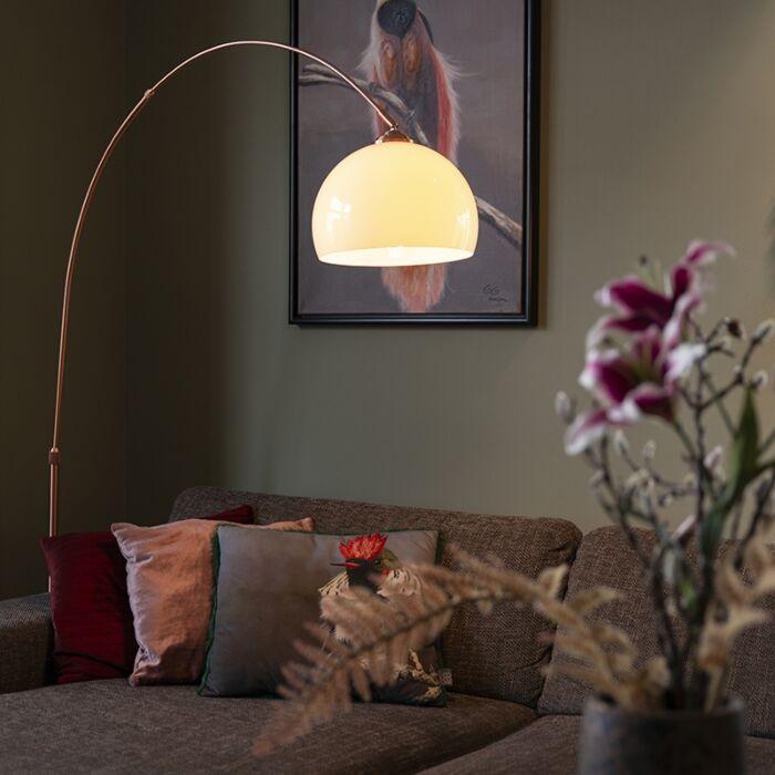 Moderne-Bogenlampe-Kupfer-mit-weißem-Lampenschirm---Arc-Basic