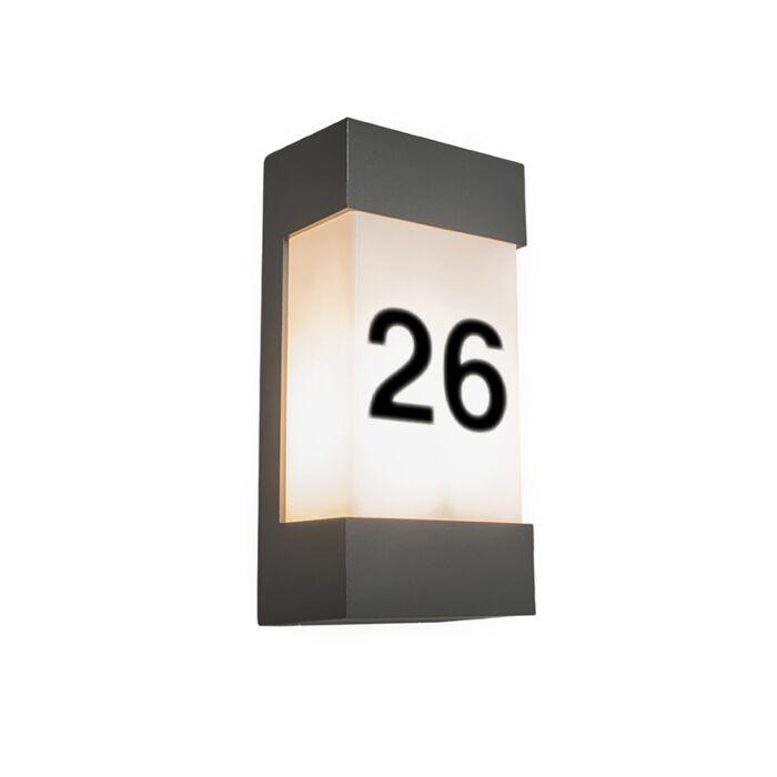 Außenwandleuchte-anthrazit-mit-Hausnummer-IP54---Tide-V