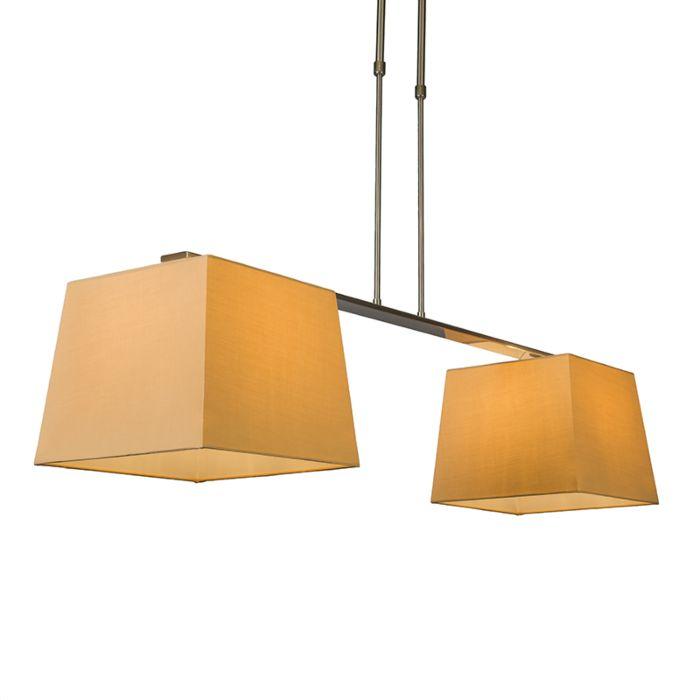 Pendelleuchte-Combi-Delux-2-Schirm-quadratisch-30cm-beige