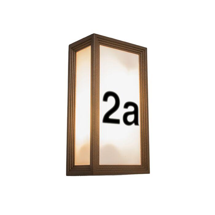 Wandleuchte-Tide-II-rostfarben-mit-Hausnummer-Aufklebern