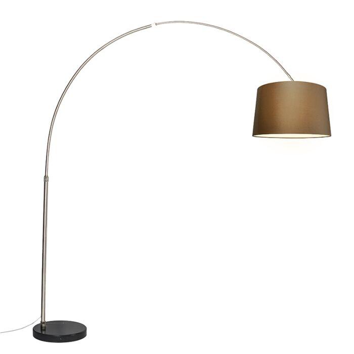 Bogenleuchte-Stahl-Stoffschirm-braun-45-cm---XXL