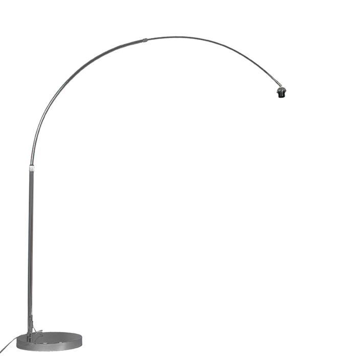 Moderne-Bogenlampe-chrom-verstellbar-ohne-Schirm