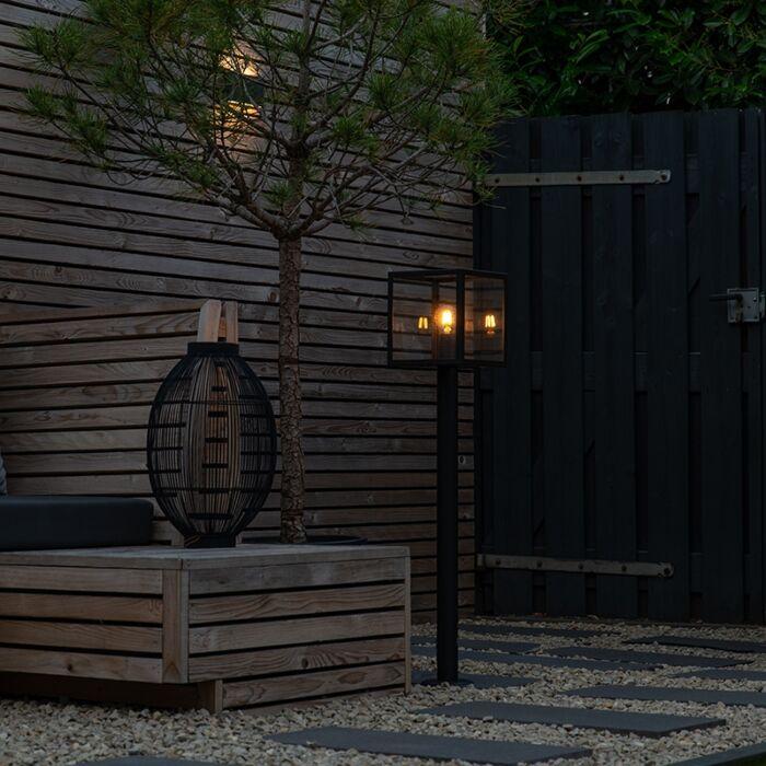 Moderne-Außenleuchte-Pfahl-schwarz-100-cm---Rotterdam