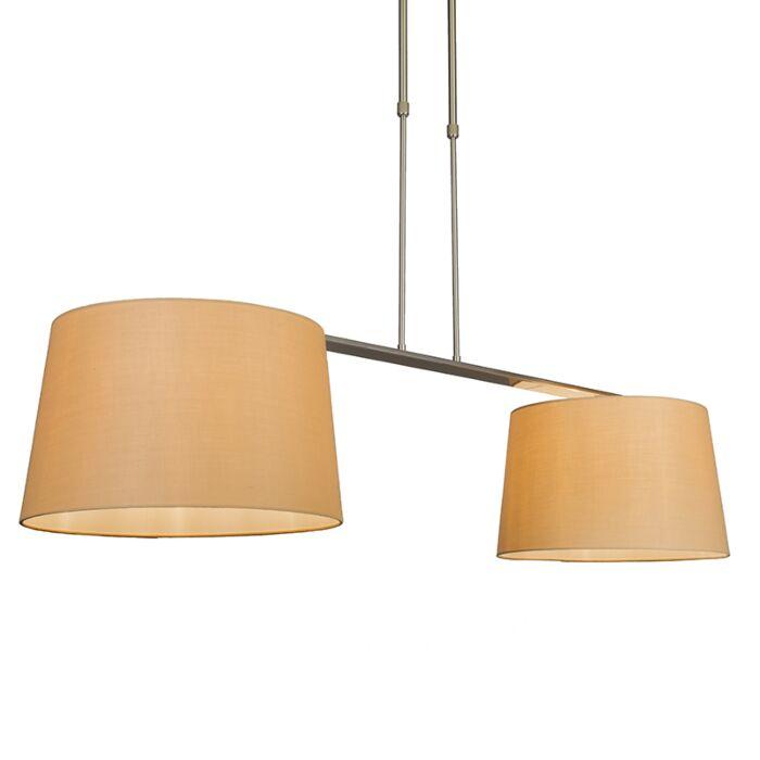 Pendelleuchte-Combi-Delux-2-Schirm-rund-40cm-beige