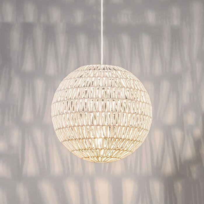 Retro-Hängelampe-weiß-40-cm---Lina-Ball-40