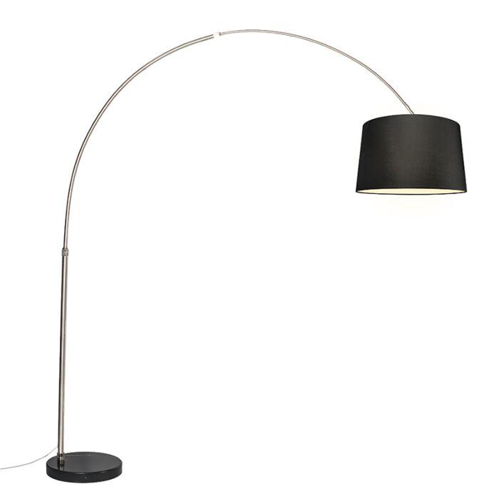 Bogenlampe-Stahl-Stoffschirm-schwarz-45-cm---XXL