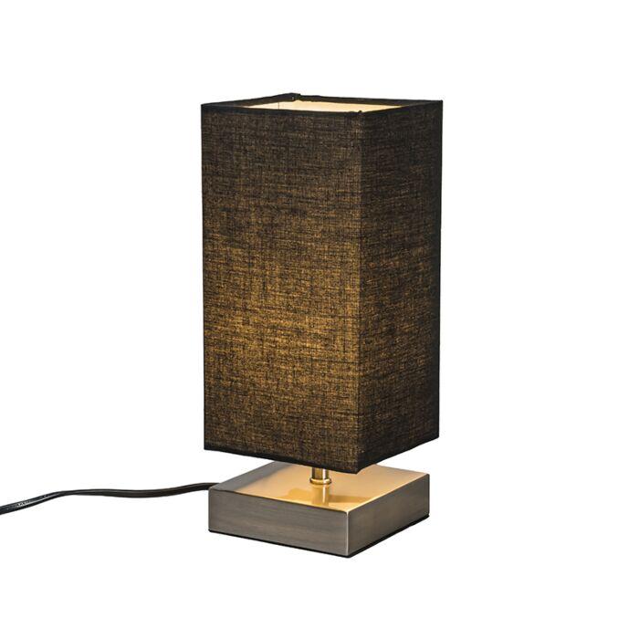 Moderne-Tischlampe-schwarz-mit-Stahl---Milo