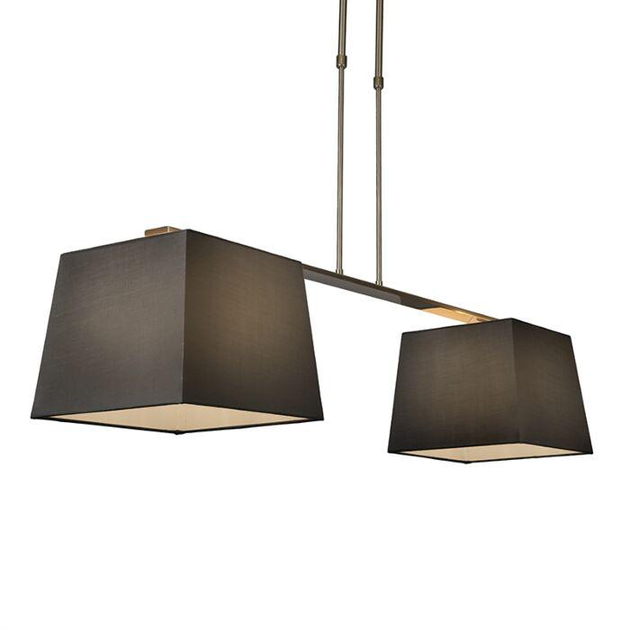 Pendelleuchte-Combi-Delux-2-Schirm-quadratisch-30cm-schwarz