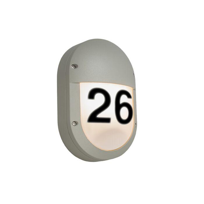 Wandleuchte-Glow-oval-2-hellgrau-mit-Hausnummer-Aufklebern