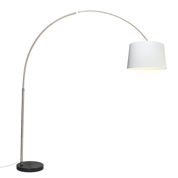 Bogenleuchte-Stahl-Stoffschirm-weiß-45-cm---XXL