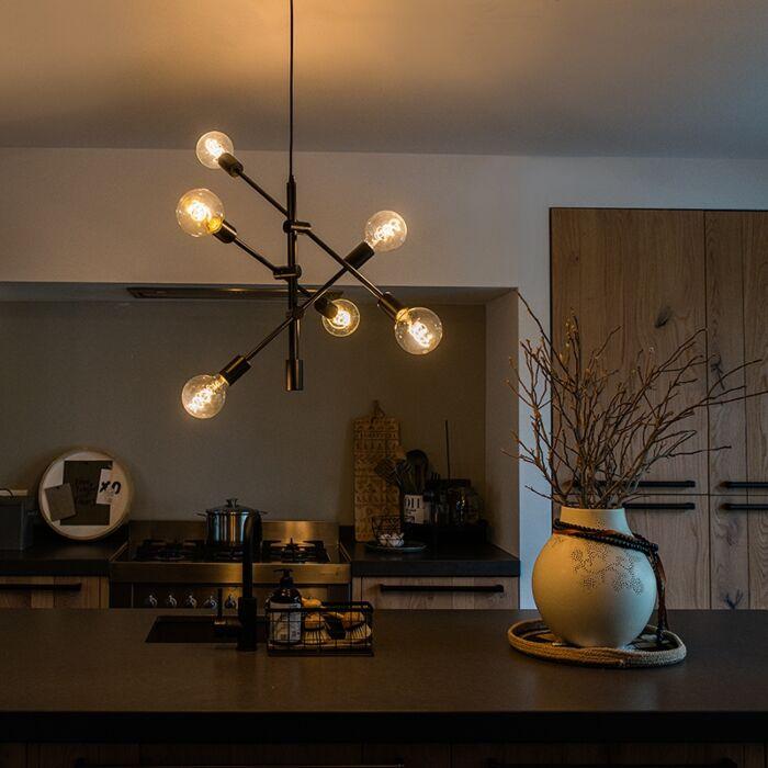 Industrielle-Hängelampe-schwarz-6-Leuchten---Sydney