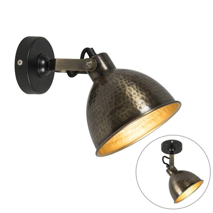 Wandleuchte-Kupfer-mit-Messing-verstellbar-19,5-cm---Liko