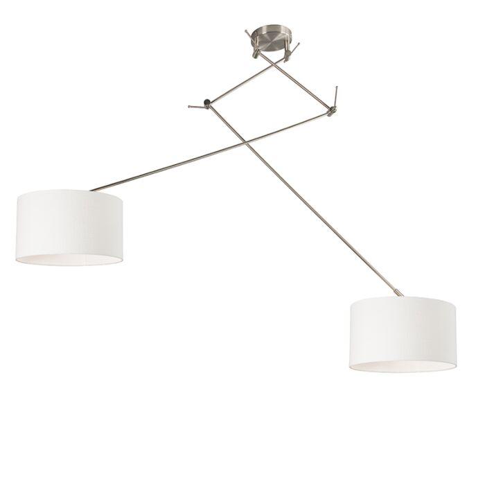 Hängelampe-Stahl-mit-zwei-Lampenschirmen-35-cm-weiß-verstellbar---Blitz-II
