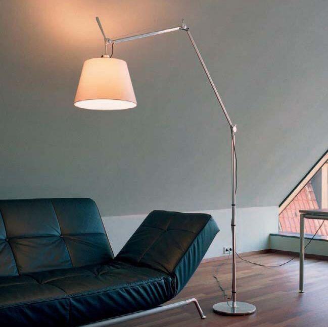 Aluminium-Stehlampe-mit-Lampenschirm---Artemide-Tolomeo-Mega-Terra