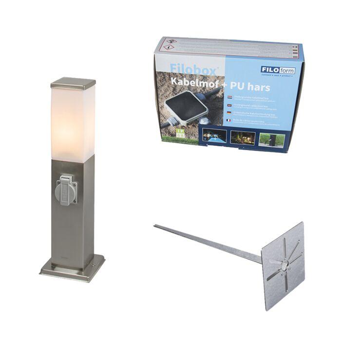 Außenleuchte-Stahl-inkl.-Steckdose-Erdspieß-und-Kabelmuffe-IP44-Malios-