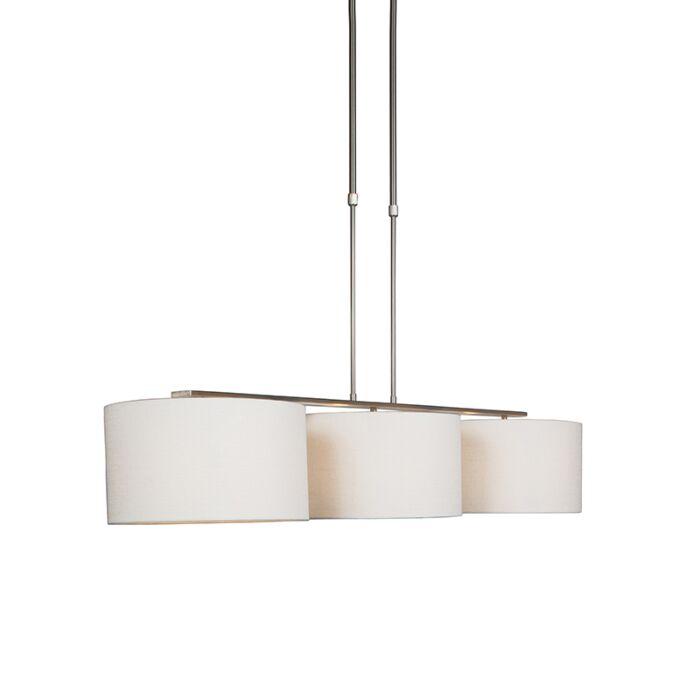Moderne-Hängelampe-Stahl-mit-Schirm-weiß---Combi-3-Deluxe