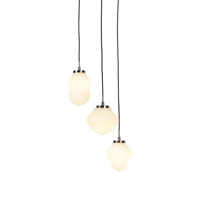 Art-Deco-runde-Pendelleuchte-stahl-mit-Milchglas-und-3-Schirmen--Bolsena