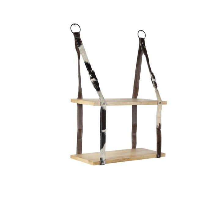 Industrie-Wandregal-mit-2-Holzböden-und-Lederriemen---Gürtel