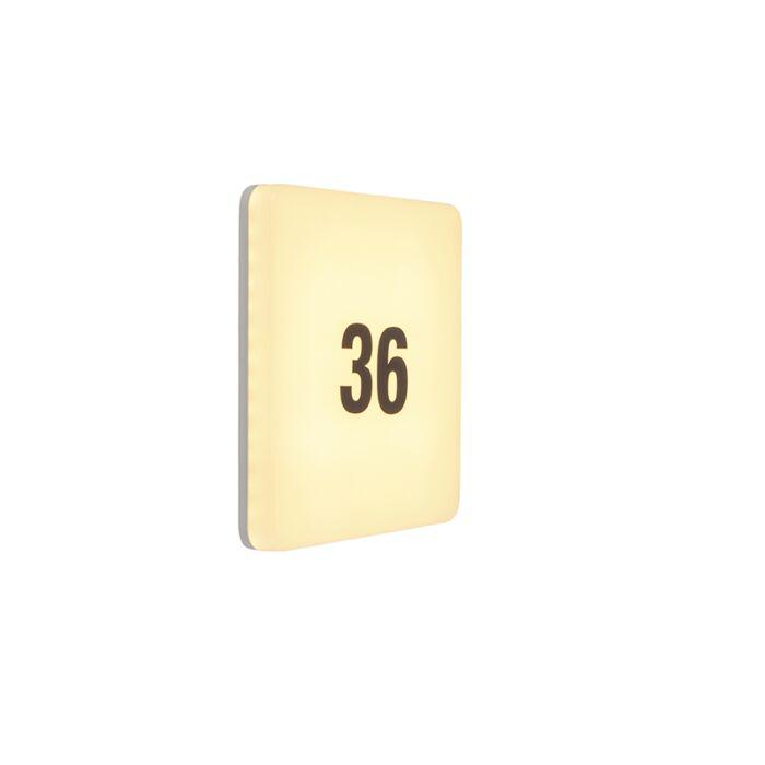 Moderne-quadratische-Wandleuchte-inkl.-LED-mit-Nummernschild---Plater