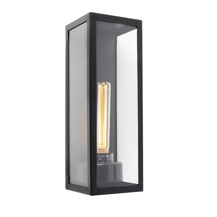 Moderne-rechteckige-Außenwandleuchte-schwarz-mit-Glas---Rotterdam-Long