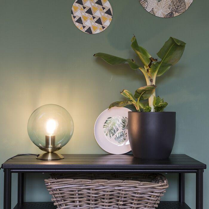 Art-Deco-Tischlampe-Messing-mit-blauem-Glas---Pallon
