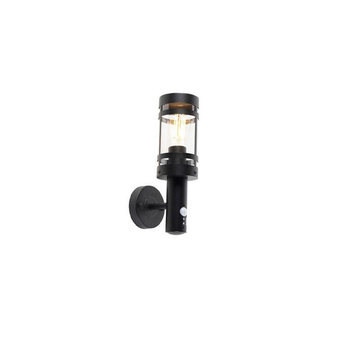 Außenwandleuchte-schwarz-mit-Bewegungsmelder-IP44---Gleam