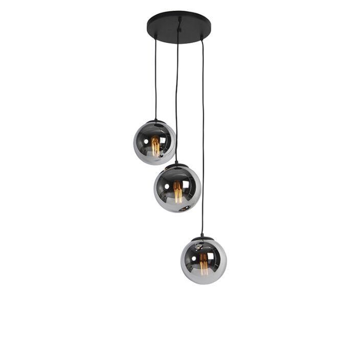 Art-Deco-Hängelampe-schwarz-mit-Rauchglas-3-Licht---Pallon