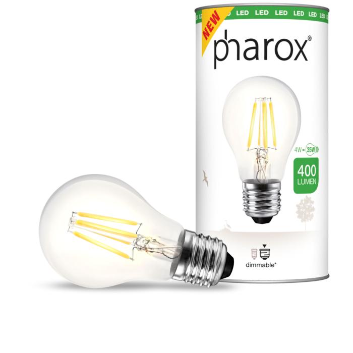 Pharox-LED-E27-Fadenlampe-klar-4Watt-/-400-Lumen-dimmbar