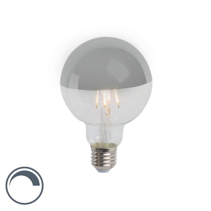 E27-dimmbarer-LED-Glühlampenkopfspiegel-G95-silber-280lm-2300K