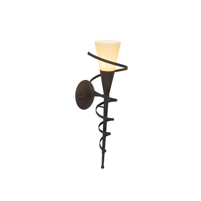 Ländliche-Wandlampe-rostbraun-mit-Sahneglas---Castle