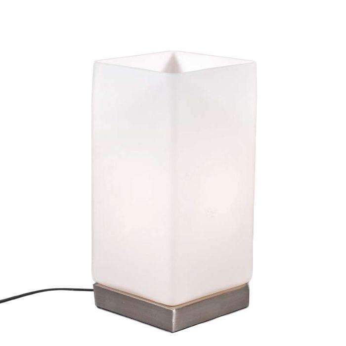 Tischleuchte-Accu-stahl-mit-weißem-Glas