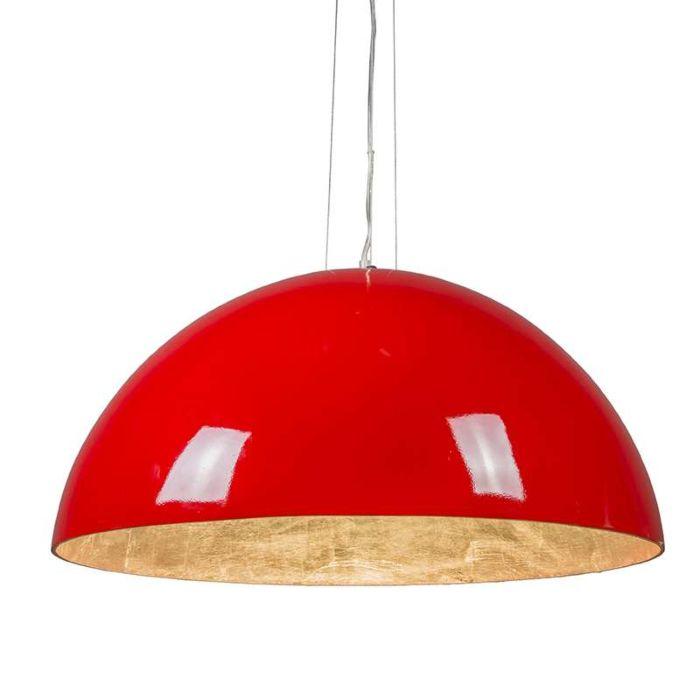 Pendelleuchte-Magna-hochglanz-70cm-rot-silber